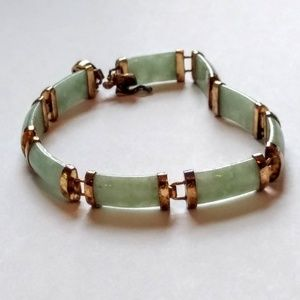 Jewelry - Genuine Jade Bracelet Sterling Gold Wash